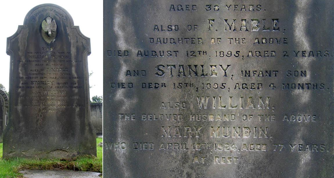 The Mundin family grave within St Helens Cemetery