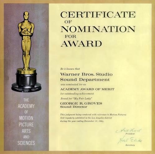 Best Sound Oscar nomination for My Fair Lady